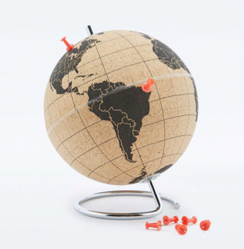 Where to go first? This desk-sized cork board globe is the perfect accessory to help record your latest globetrotting adventures, plan your next summer get-away or dream about that perfect destination.